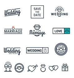 Wedding set icons and logos vector image