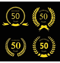 50 fifty years anniversary signs laurel gold vector image vector image