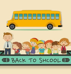 Back to school theme with students and teacher vector image vector image