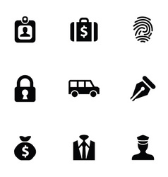bank 9 icons set vector image