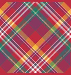 Diagonal red check plaid seamless fabric texture vector