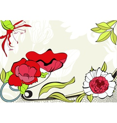 Greeting vintage card with flowers vector image