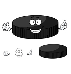 Happy cartoon hockey puck waving its hands vector image vector image