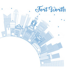 outline fort worth usa skyline with blue vector image