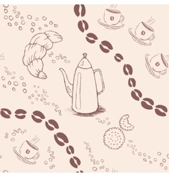 Seamless background pattern with coffee beans and vector image