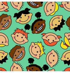 seamless background with faces of children vector image vector image