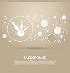 bowling game round ball icon on a brown vector image
