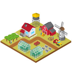 farmyard isometric game model icon vector image vector image