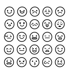 icons of smiley faces emotion cartoon vector image vector image