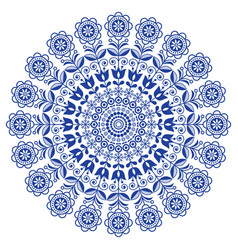 scandinavian folk art mandala with flowers vector image vector image