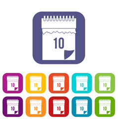 10 date calendar icons set flat vector