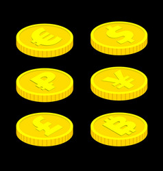 3d isometric coins isolated on black vector