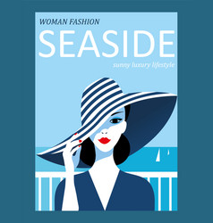 abstract woman with striped hat on sea background vector image