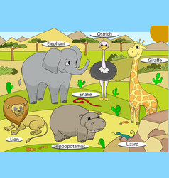 African savannah animals with names cartoon vector