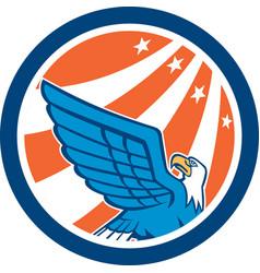 American Eagle Flying Looking Up Retro vector