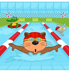 animals in pool vector image