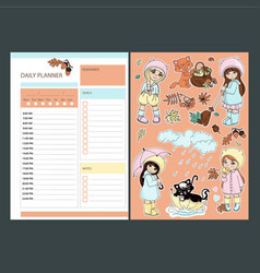 Autumn daily planner stickers with babies vector