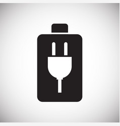 Battery icon on white background for graphic and vector
