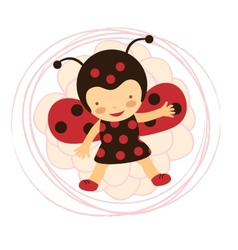 Beautiful ladybug baby card vector image
