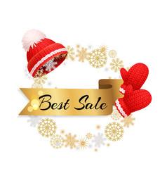best winter sale offer poster warm red hat gloves vector image