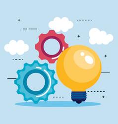bulb light idea with gears vector image