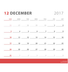 Calendar planner 2017 december week starts sunday vector