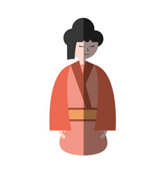 Character japanese woman attire costume shadow vector