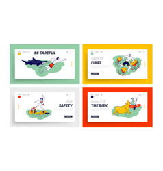 Characters attacked with water animals landing vector