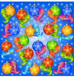 christmas background with balls and dragons vector image