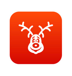 christmas deer icon digital red vector image