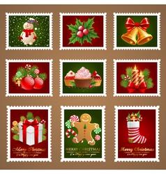 Christmas postage set vector