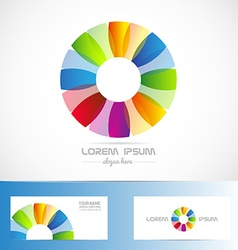 Circle flower colored logo vector
