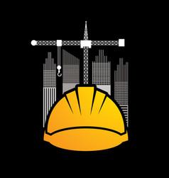 construction building helmetruction with crane vector image