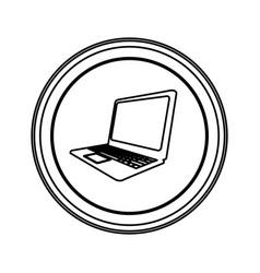 Contour emblem laptop icon vector