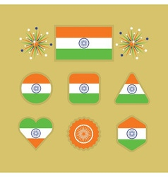 Country India flag different shapes emblems set vector