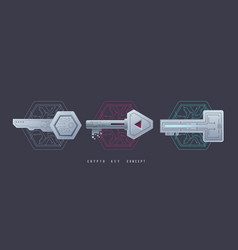 Crypto keys management icons digital graphic vector