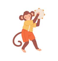 Cute monkey playing tambourine happy animal vector