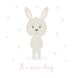 cute rabbit on white vector image