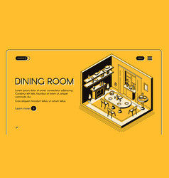 Dinning room interior isometric website vector