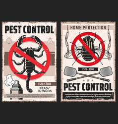 Domestic disinsection pest control service posters vector