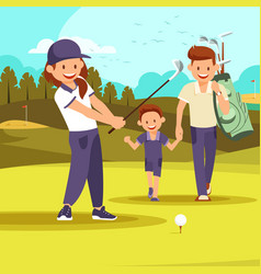 Family vacation leisure passtime at golf club vector