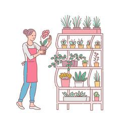 Florist arranges plants in flower shop cartoon vector