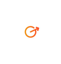 G letter logo design circle with arrow out icon vector