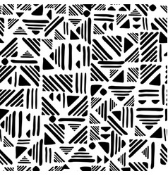 geometric seamless hand draw folk patter weave vector image