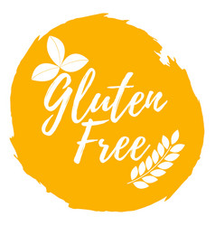 Gluten free label healthy and organic food font vector