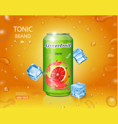 Grapefruit juice can fruit drink vector