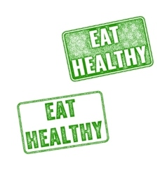 Green grunge rubber stamps eat healthy vector