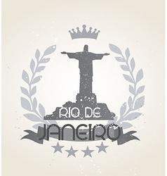 Grunge Rio de Janeiro icon laurel weath vector