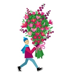 Guy buying bouquet of flowers vector