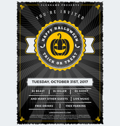 halloween celebrations vintage label on the vector image